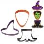 Комплект метални цветни резци - Хелоуин вещица - 3 бр