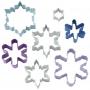 Комплект метални цветни резци - Снежинки - 7 бр