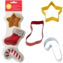 Комплект метални цветни резци - Звезда, ботуш и Коледно бастунче