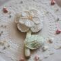 Домашна бисквитка - Цвете - Перлено бяло