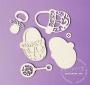 Елементи от бирен картон - Бебешки комплект с орнаменти