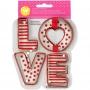 Комплект метални цветни резци - LOVE - 4 бр