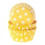 Хартиени форми за мъфини и кексчета - Жълто на точки - 50 бр