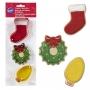 Комплект метални цветни резци - Весели Коледни празници - 3 бр