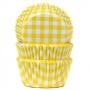 Хартиени форми за мъфини и кексчета - Жълто каре - 50 бр