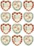 Принт декорация - Винтидж сърца - 12 бр