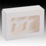Кутия за 6 мъфина с прозорец и сепаратор - Бяла -  20х30х7,6 см