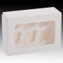 Кутия за 6 мина мъфина с прозорец и сепаратор - Бяла - 14х20х6.3