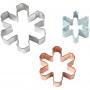 Комплект метални цветни резци - Снежинки - 3 бр
