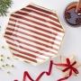 Парти чинии - Red & Gold - Коледно бастунче