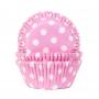 Хартиени форми за мъфини - Бебешков розово на точки - 50 бр