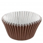 Хартиени форми за мъфини с фолио - Шоколадово кафяво - 30 бр