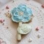 Домашна бисквитка - Цвете - Перлено синьо