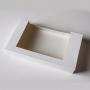 Картонена кутия с прозорец - БЯЛА -  22*13*3,5 см