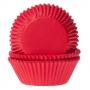 Хартиени форми за мъфини и кексчета - Червено кадифе - 50 бр