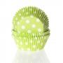 Хартиени форми за мъфини и кексчета - Зелено на точки - 50 бр