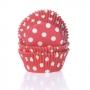 Хартиени форми за мъфини и кексчета - Червено на точки - 50 бр