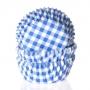 Хартиени форми за мини мъфини и кексчета - Синьо каре - 60 бр