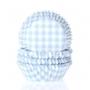 Хартиени форми за мъфини и кексчета - Пастелно синьо каре - 50 б