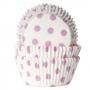 Хартиени форми за мъфини - Бяло на розови точки - 50 бр