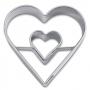 Метален резец - Сърце в сърце - 4 см