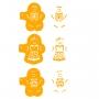 Комплект шаблони - Джинджифилени човечета - 3 бр
