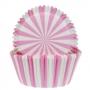 Хартиени форми за мъфини - Розово и бяло - 50 бр