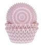 Хартиени форми за мъфини - Шеврон в розово - 50 бр