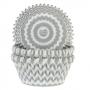Хартиени форми за мъфини - Шеврон в сребърно - 50 бр