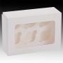 Кутия за 6 мини мъфина с прозорец и сепаратор - Бяла - 14х20х6.3