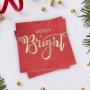 Коктейлни салфетки - Red & Gold - Весела и светла
