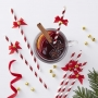 Парти сламки - Red & Gold - Коледно бастунче с камбанка