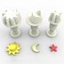 Комплект мини резци и щампи с бутало - Слунце, луна и звезда - 3