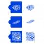 Комплект шаблони - Паунови пера квадрат - 3 бр