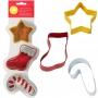 Комплект метални цветни резци - Звезда, ботуш и Захарно бастунче