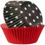 Хартиени форми за мъфини и кексчета - Червено и черно - 75 бр