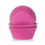 Хартиени форми за мини мъфини - наситено розово - 60 бр