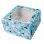 Кутия за торта с прозорче - Коледа - 25х25х12 см