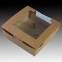 Кутия с прозорец - Кафява -  13х13х5,5 см