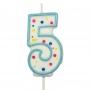 Свещичка цифра - Петица - Синя