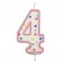 Свещичка цифра - Четворка - Розова