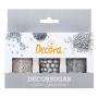 Комплект захарни декорации - Сребърна Коледа - 3 бр